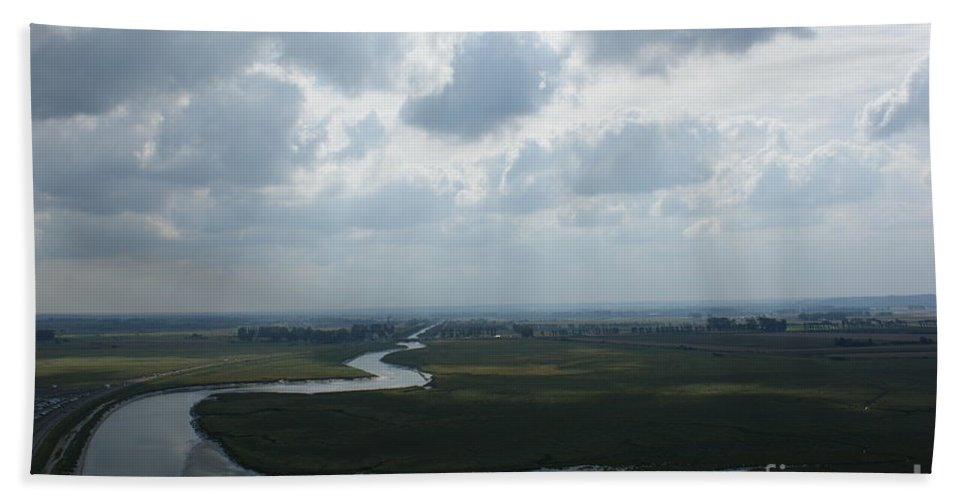 Mont St. Michel Bath Sheet featuring the photograph View From Abbey On Mont St. Michel by Christine Jepsen