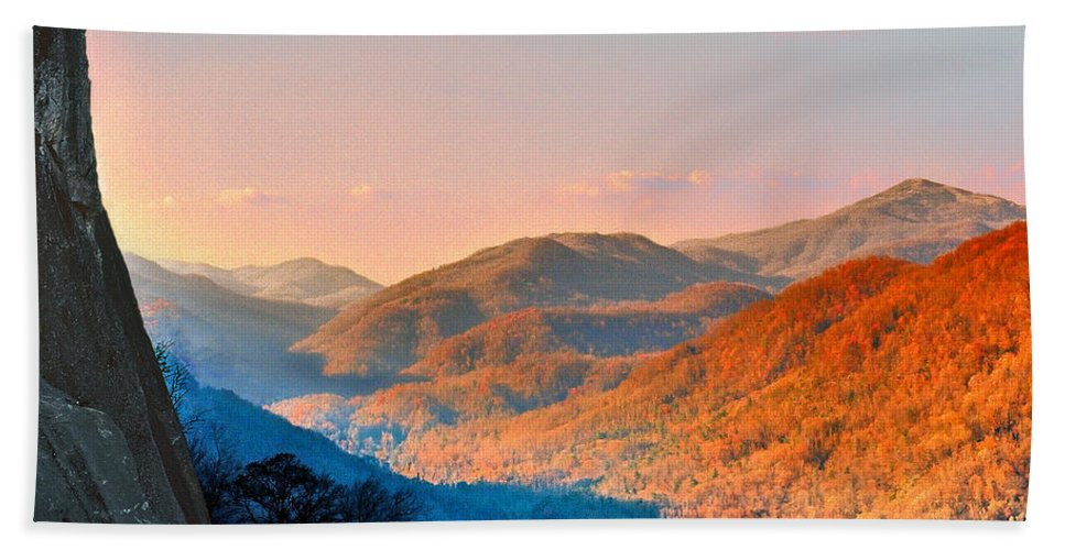 Landscape Bath Towel featuring the photograph View From Chimney Rock-north Carolina by Steve Karol
