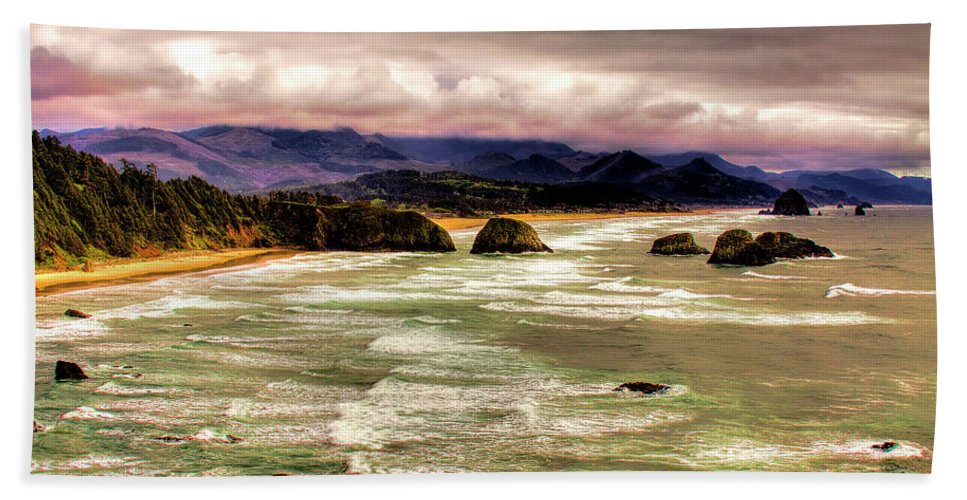 Cannon Beach Bath Sheet featuring the photograph View From Ecola II by David Patterson