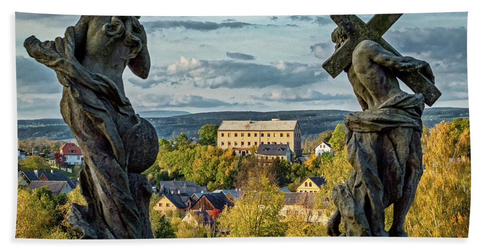 Czech Bath Sheet featuring the photograph View From Kuks Hospital - Czechia by Stuart Litoff