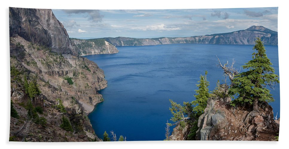 Merriam Point Crater Lake Bath Sheet featuring the photograph View From Merriam Point by Greg Nyquist