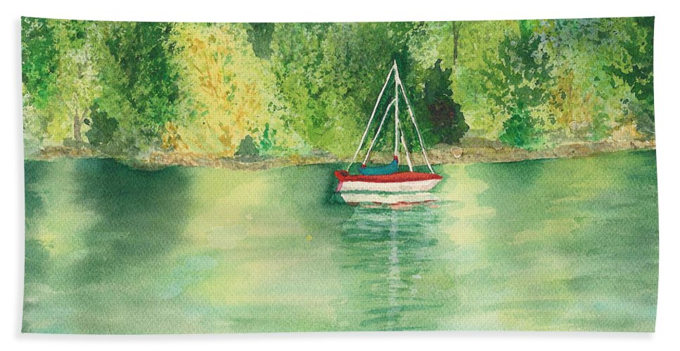 Millbay Hand Towel featuring the painting View From Millbay Ferry by Vicki Housel