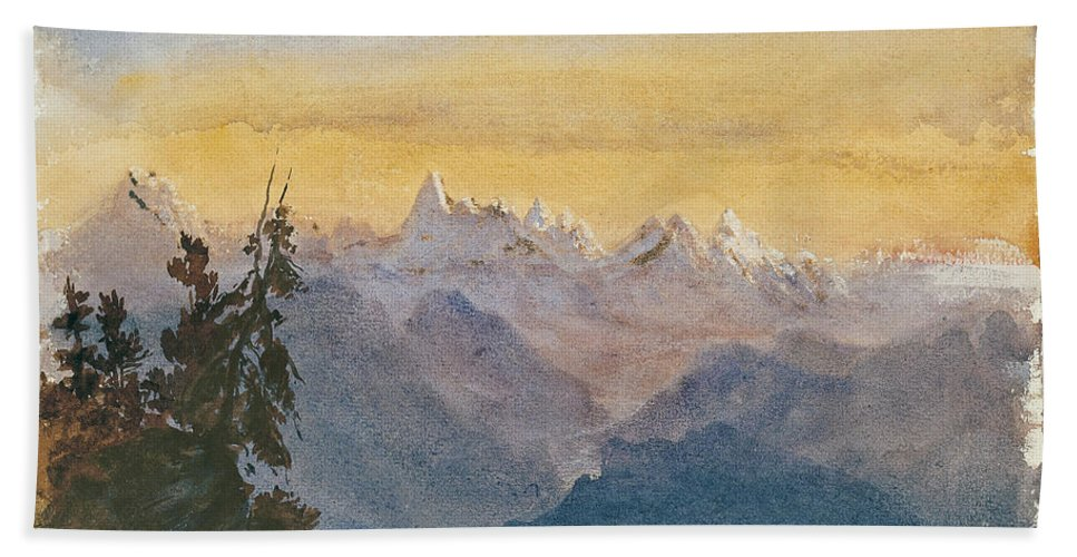 John Singer Sargent Hand Towel featuring the painting View From Mount Pilatus by John Singer Sargent
