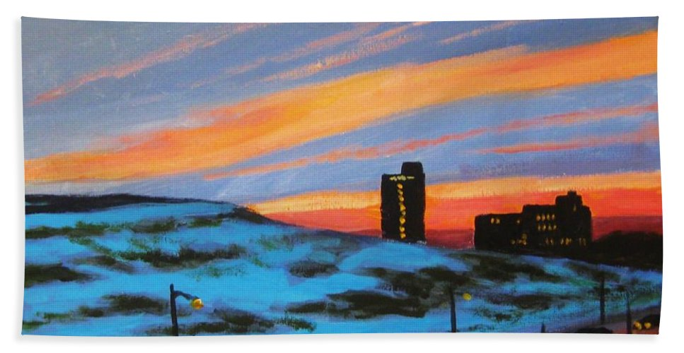 City At Night Bath Towel featuring the painting View From My Balcony by John Malone