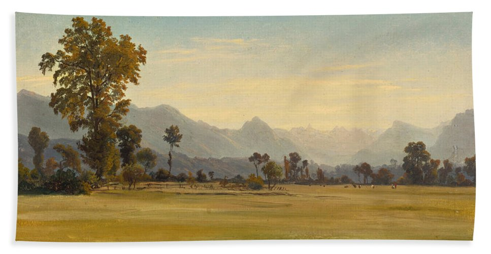 Robert Zuend Hand Towel featuring the painting View From Schoenbuehl Toward The Vitznauerstock by Robert Zuend