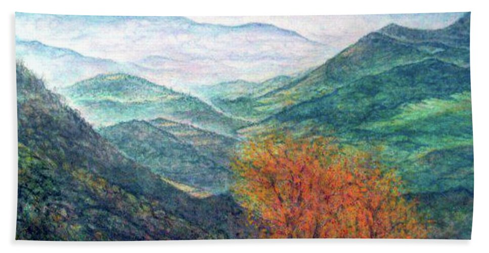 Landscape Hand Towel featuring the painting View From The Autumnal Belchen  by Arkis Krayl
