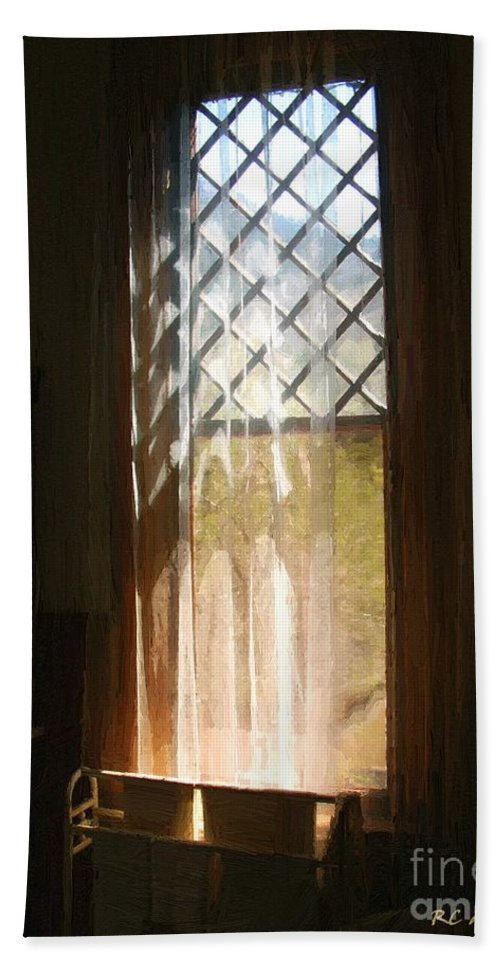 Vintage Bath Sheet featuring the painting View From The Bathroom Window by RC DeWinter