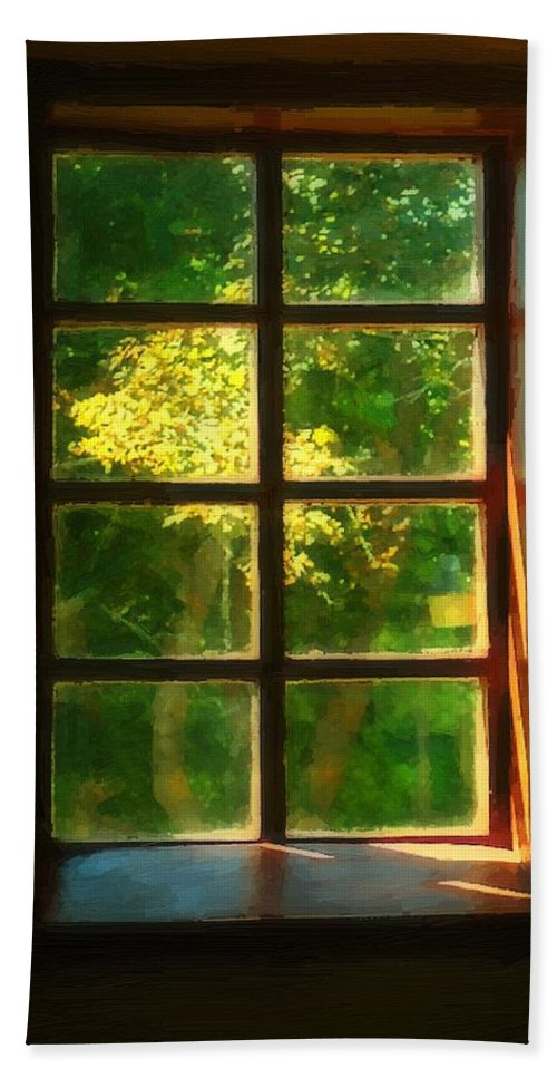 Autumn Hand Towel featuring the painting View From The Orwell Corner Church by RC DeWinter