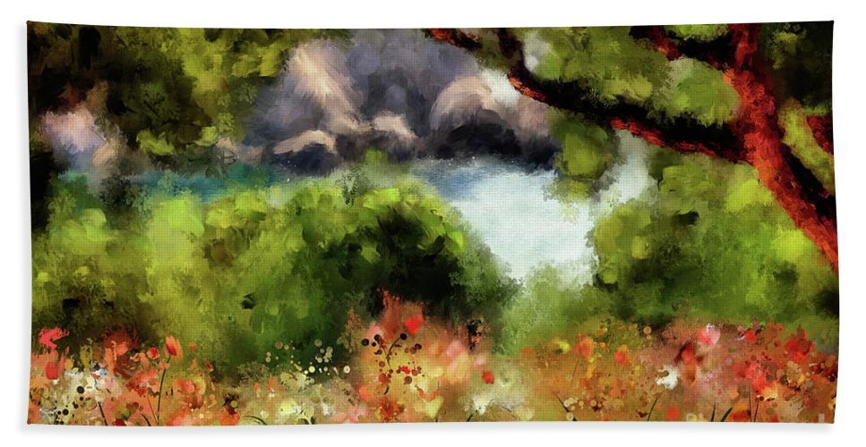 Corfu Bath Sheet featuring the digital art View From The Terrace - Paleokastritsa by Lois Bryan