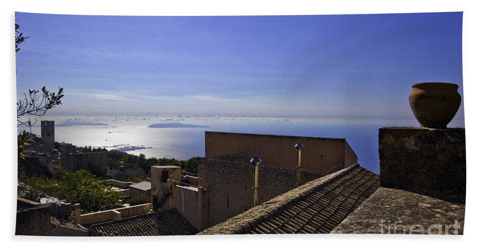 Rooftop Hand Towel featuring the photograph View From The Top In Sicily by Madeline Ellis