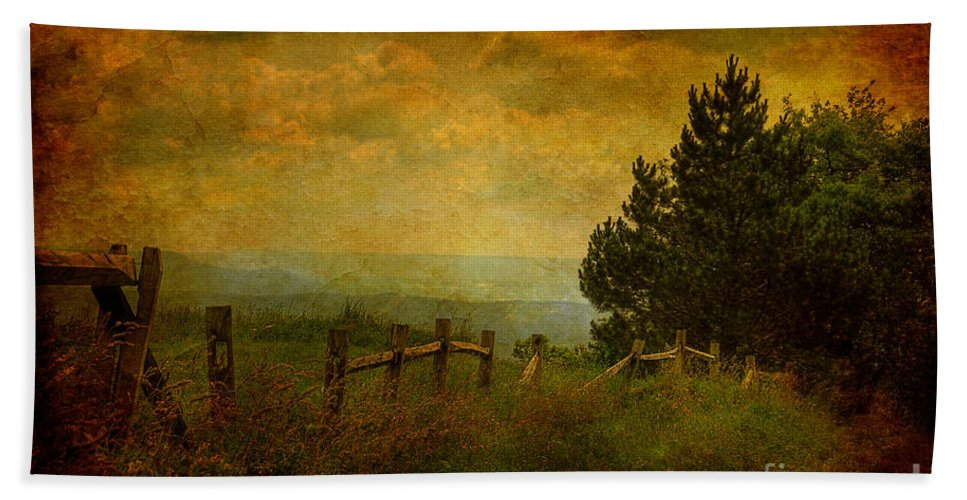 Fence Bath Sheet featuring the photograph View From The Top by Lois Bryan