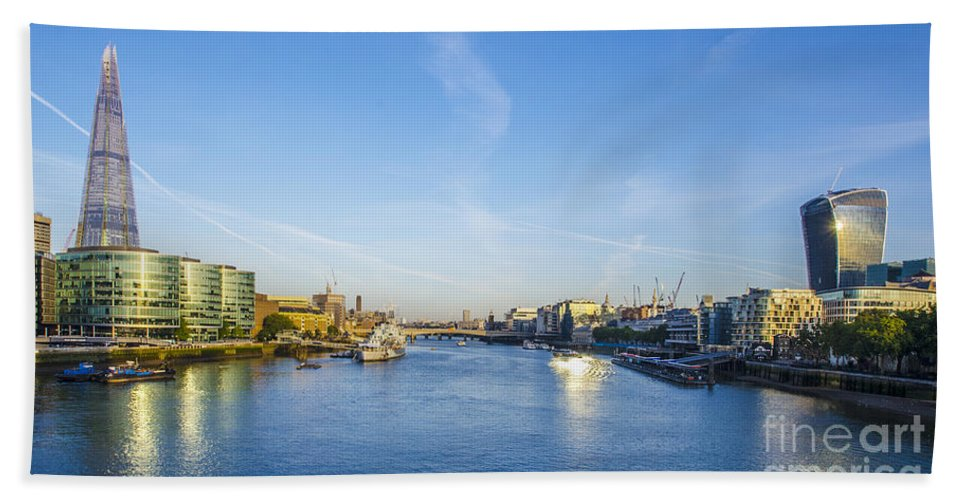 The Shard Hand Towel featuring the photograph View From Tower Bridge by Chris Thaxter