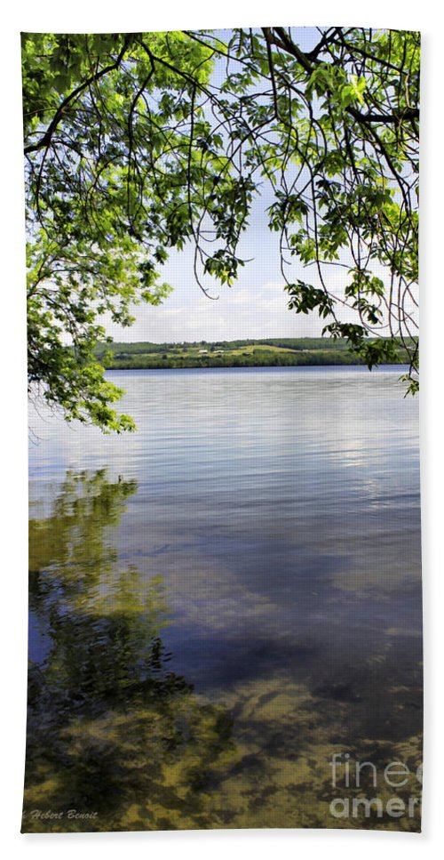 Vermont Bath Sheet featuring the photograph View From Under At Lake Carmi by Deborah Benoit