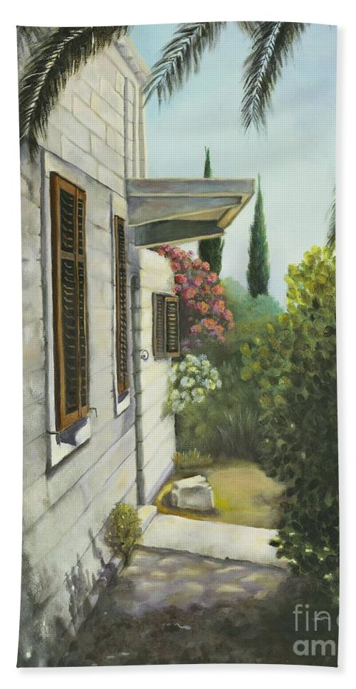 Landscape Hand Towel featuring the painting View In A Croatian Garden by Marlene Book