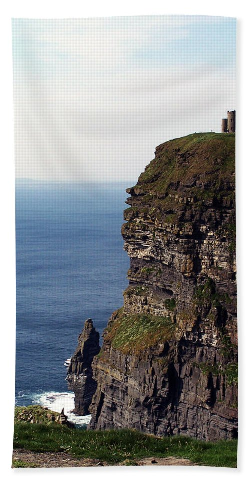 Irish Hand Towel featuring the photograph View Of Aran Islands And Cliffs Of Moher County Clare Ireland by Teresa Mucha