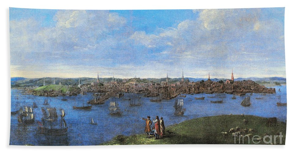 1738 Bath Sheet featuring the photograph View Of Boston, 1738 by Granger