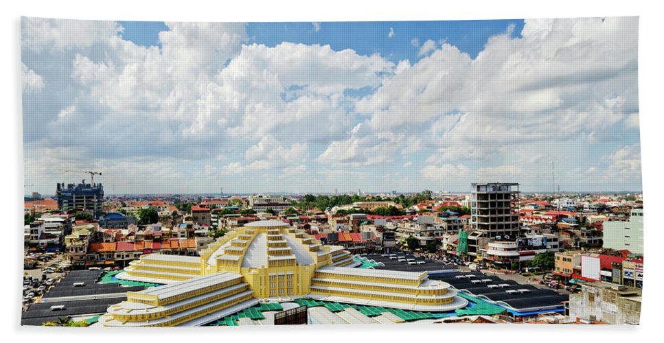 Architecture Hand Towel featuring the photograph View Of Central Market Landmark In Phnom Penh City Cambodia by Jacek Malipan