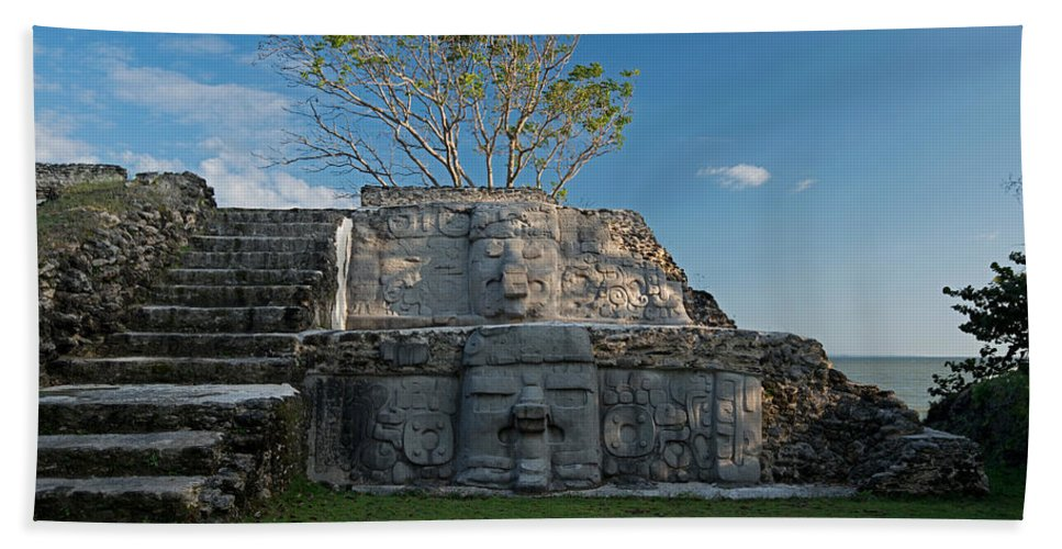 Photography Bath Sheet featuring the photograph View Of Cerros Maya Ruins At Cerros by Panoramic Images