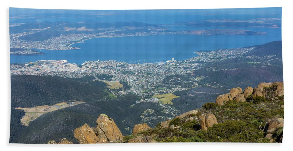Australia Hand Towel featuring the photograph View Of City From Mountain Top by Andrew Balcombe