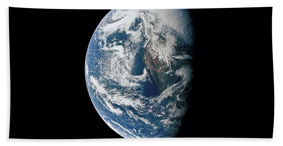 Mexico Bath Sheet featuring the photograph View Of Earth Taken From The Apollo 13 by Stocktrek Images