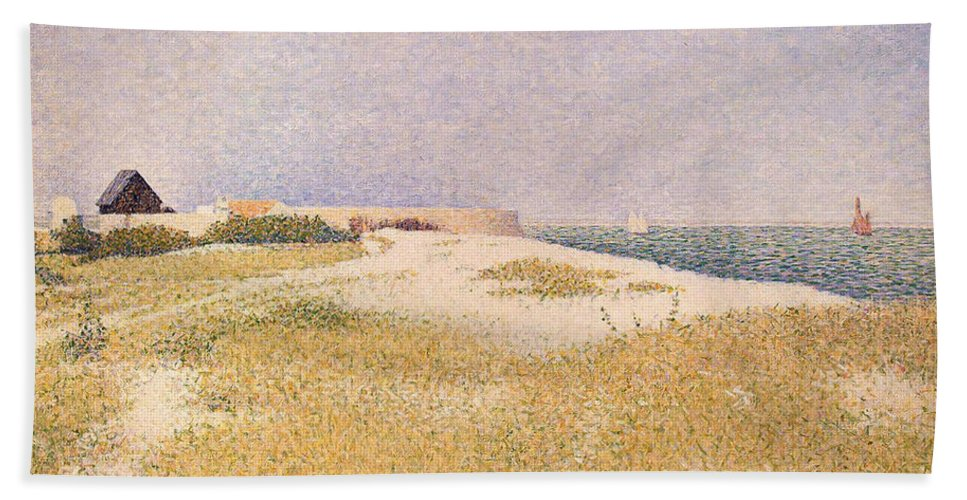 Seurat Hand Towel featuring the painting View Of Fort Samson by Georges Pierre Seurat