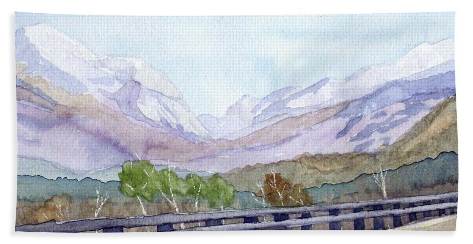 Franconia Notch Bath Towel featuring the painting View Of Franconia Notch by Sharon E Allen