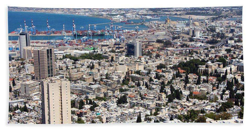 Haifa Hand Towel featuring the photograph View Of Haifa by Munir Alawi