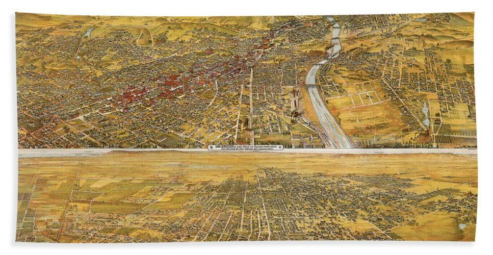 1894 Hand Towel featuring the photograph View Of Los Angeles, 1894 by Granger