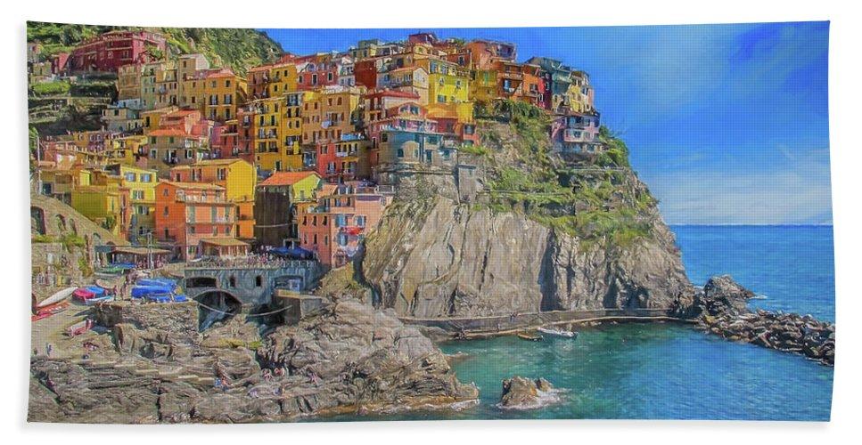 Cinque Terre Bath Sheet featuring the digital art View Of Manarola by Roy Pedersen