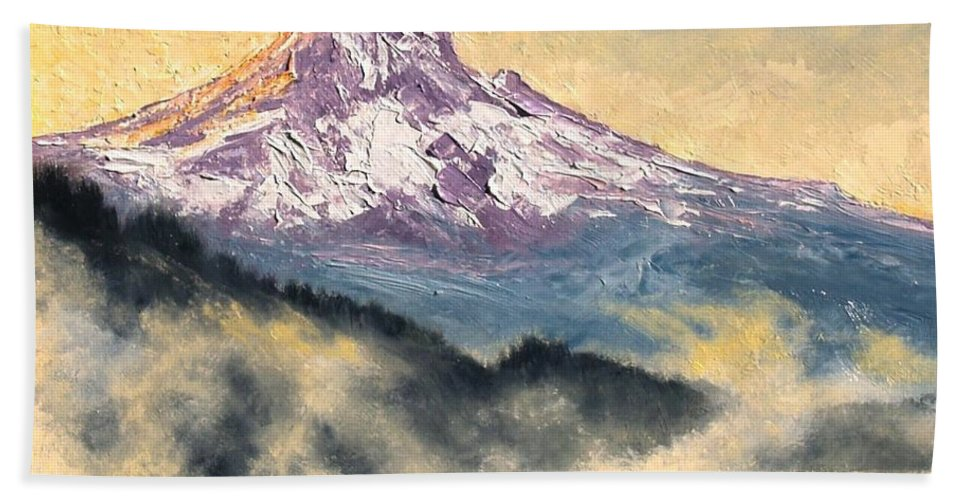 Lanscape Bath Sheet featuring the painting View of Mt Hood by Jim Gola