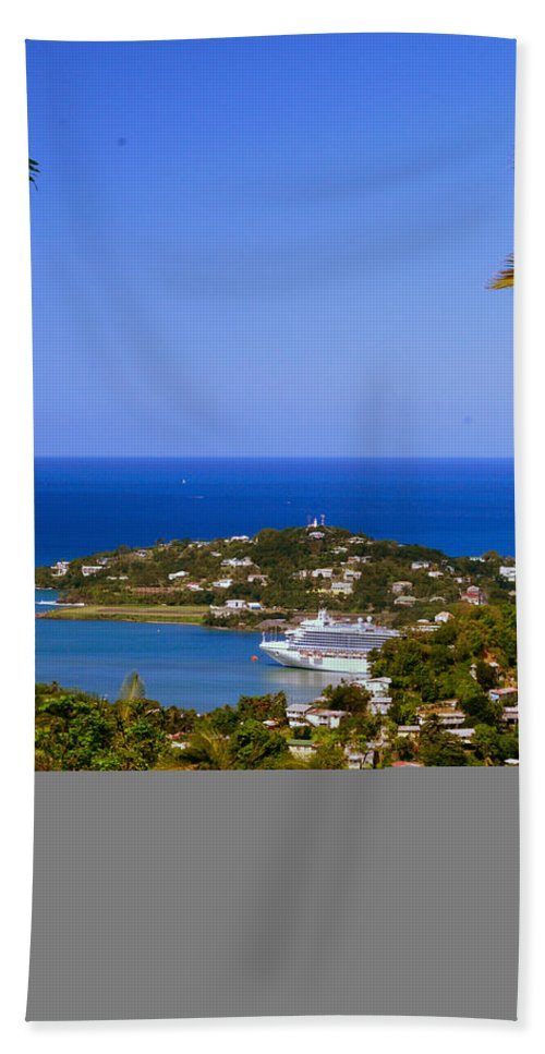 St. Lucia Hand Towel featuring the photograph View Of St. Lucia by Gary Wonning