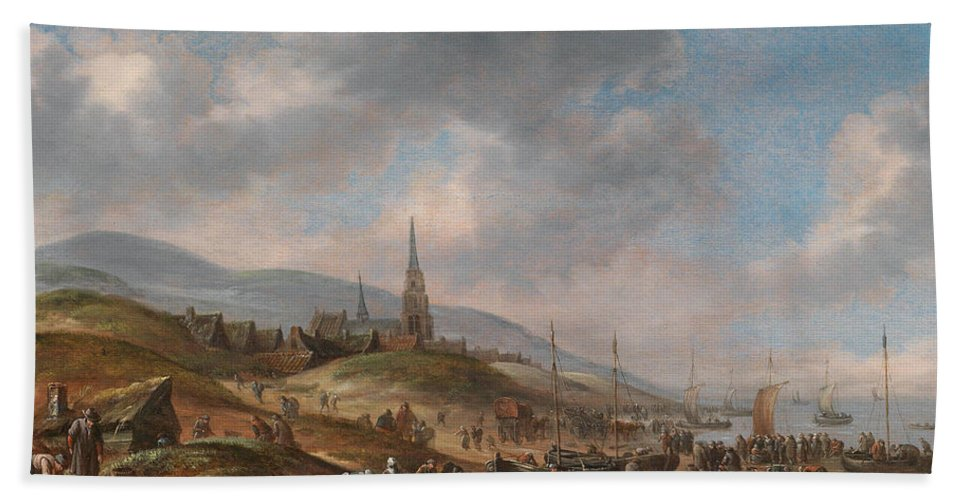 Thomas Heeremans Hand Towel featuring the painting View Of The Beach At Scheveling by Thomas Heeremans