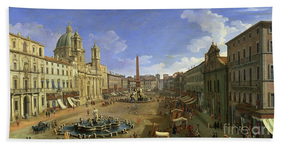 Rome Hand Towel featuring the painting View Of The Piazza Navona by Canaletto