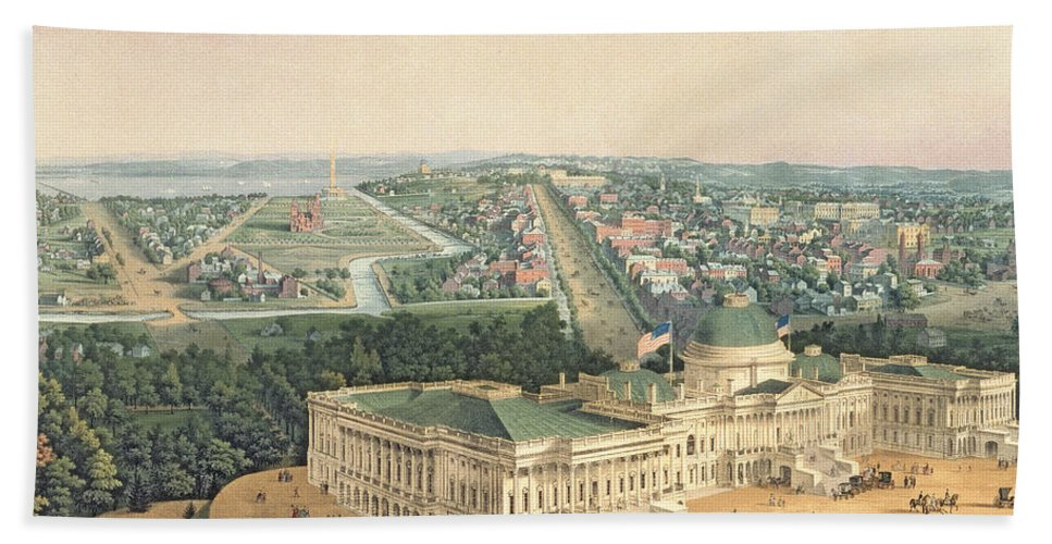 View Of Washington Bath Sheet featuring the painting View Of Washington Dc by Edward Sachse