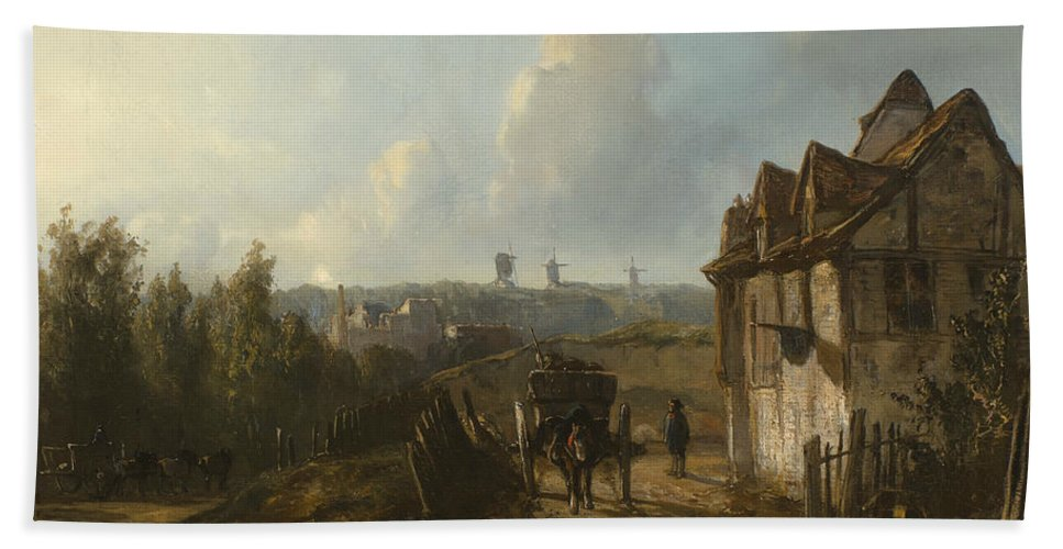 19th Century Art Bath Sheet featuring the painting View On Montmartre by Johan Jongkind