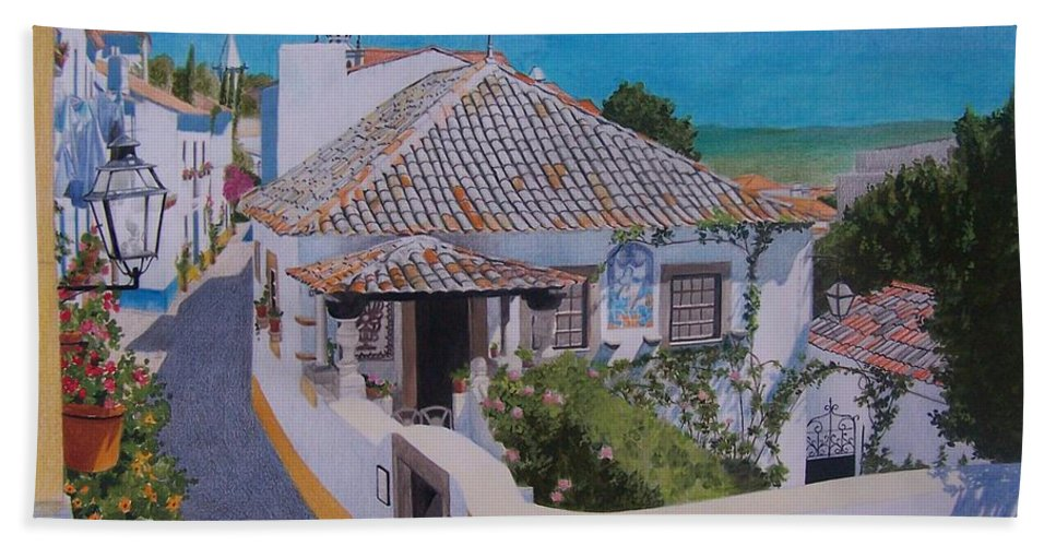 Green Hand Towel featuring the mixed media View On Obidos by Constance Drescher