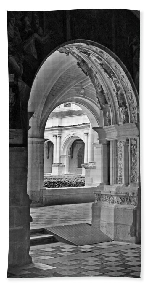 Fontevraud Abbey Hand Towel featuring the photograph View Through An Arch by Dave Mills