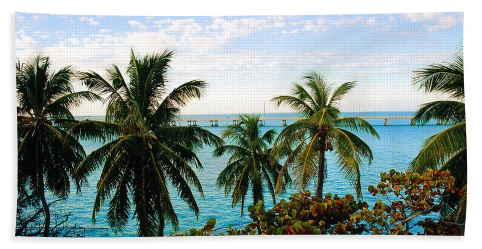 Tropical Hand Towel featuring the photograph View To The 7 Mile Bridge by Susanne Van Hulst