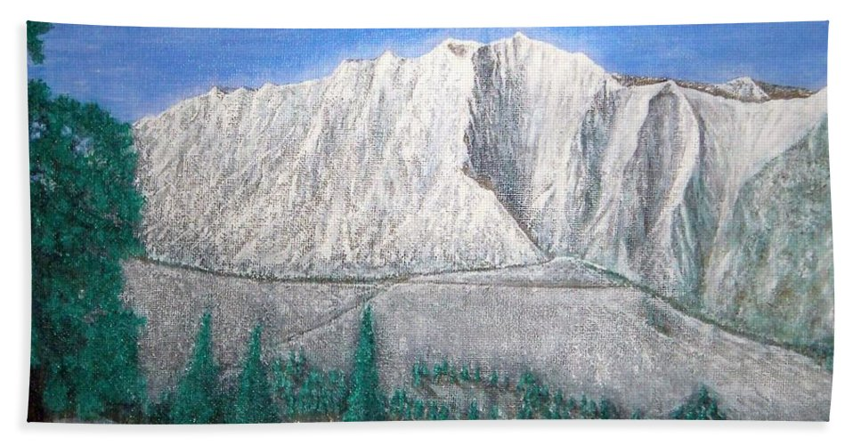 Snow Bath Towel featuring the painting Viewfrom Spruces by Michael Cuozzo