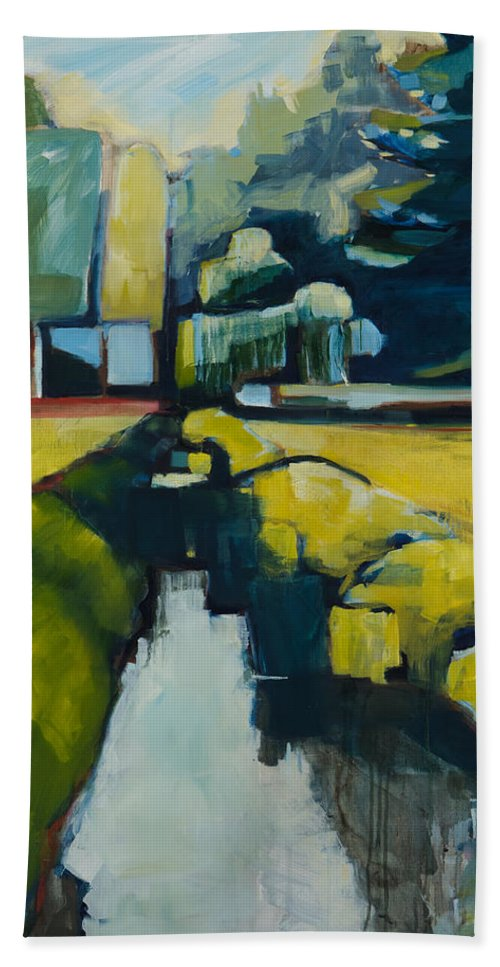Contemporary Landscape Bath Sheet featuring the painting Viewpoint by Michele Norris