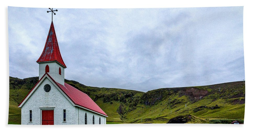 Church Hand Towel featuring the photograph Vik Church And Cemetery - Iceland by Stuart Litoff