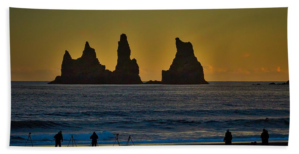 Iceland Hand Towel featuring the photograph Vik Sea Stacks At Dusk - Iceland by Stuart Litoff