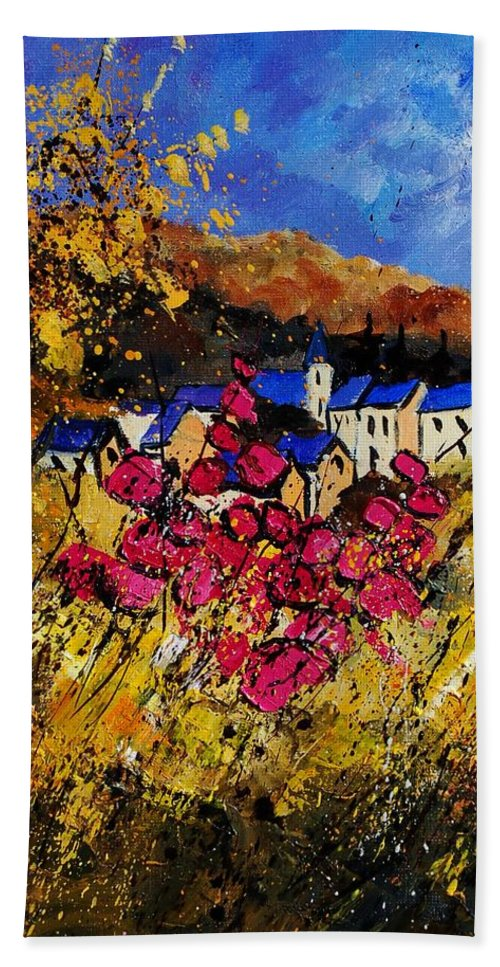 Flowers Hand Towel featuring the painting Village 450808 by Pol Ledent