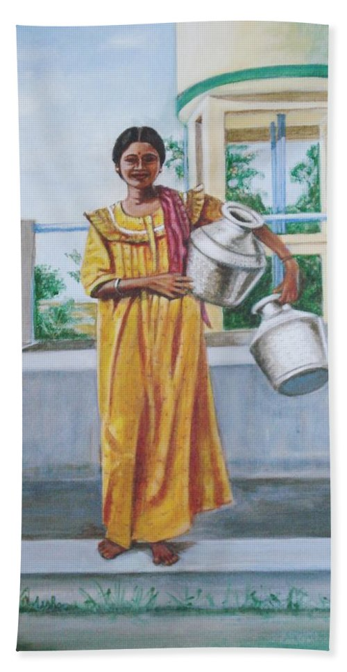 Usha Hand Towel featuring the painting Village Belle by Usha Shantharam
