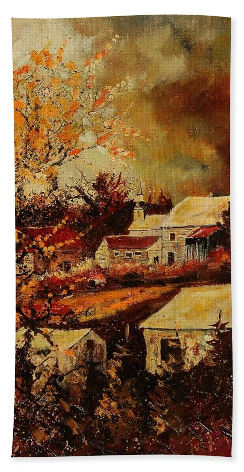 Tree Hand Towel featuring the painting Village Curfoz by Pol Ledent