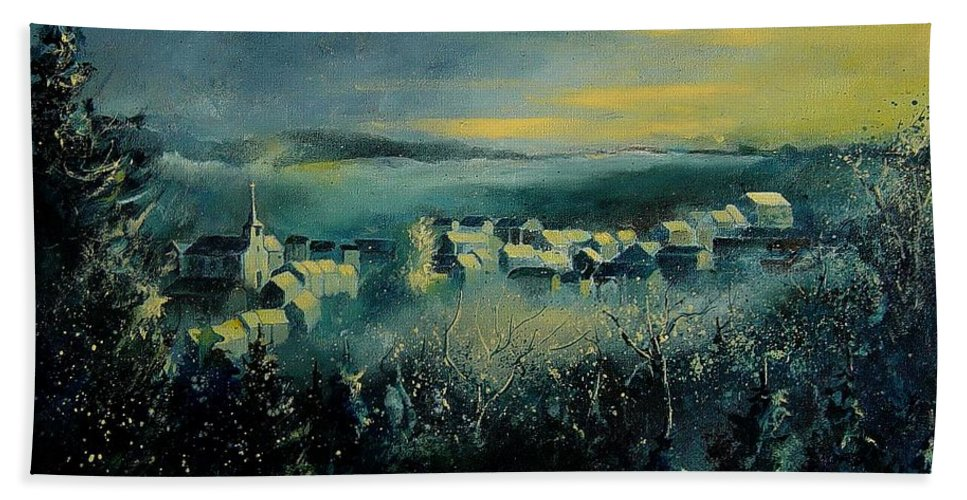 Village Hand Towel featuring the painting Village In A Misty Morning by Pol Ledent