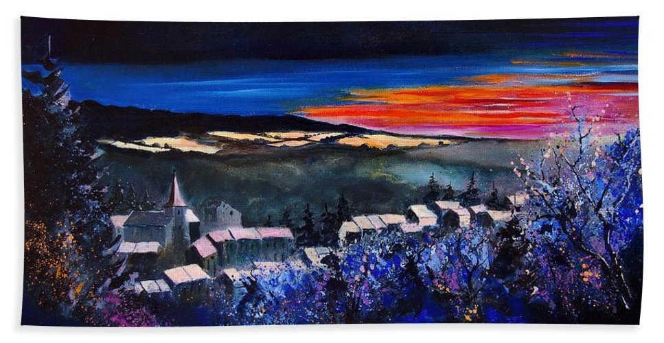 Landscape Bath Towel featuring the painting Village In A Winter Morninglight by Pol Ledent