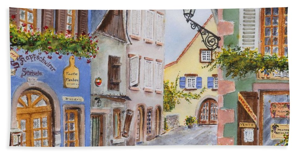 Village Bath Towel featuring the painting Village In Alsace by Mary Ellen Mueller Legault