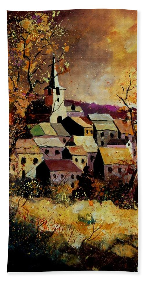 River Hand Towel featuring the painting Village In Fall by Pol Ledent