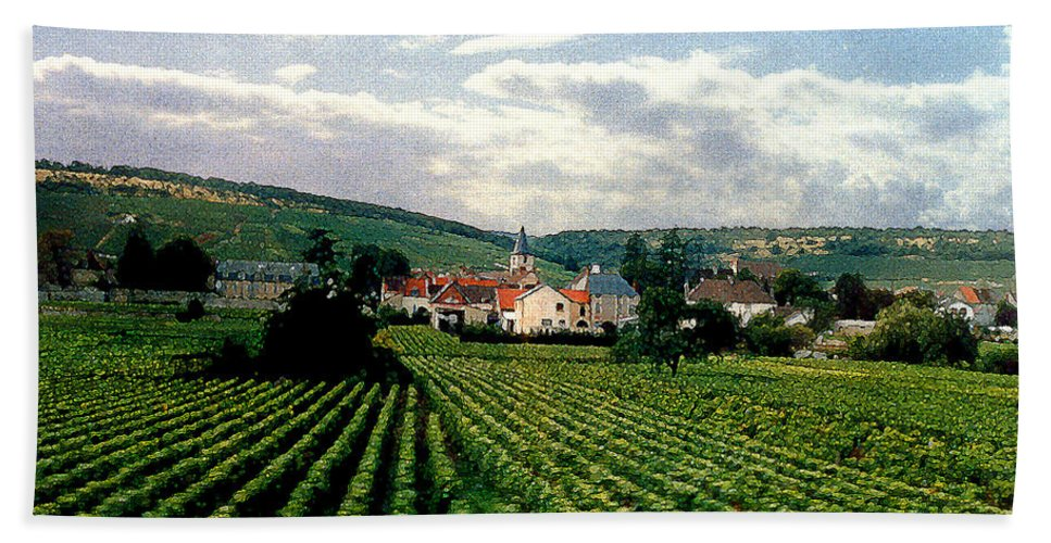 Vineyards Bath Towel featuring the photograph Village In The Vineyards Of France by Nancy Mueller